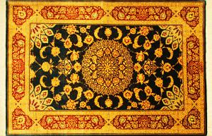 サイズ120×78cm<br> silk100%<br> メダリオン<br> クム産<br> ゴーハリ工房655,000円(税込)