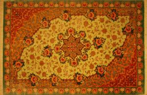 サイズ120×79cm<br> silk100%<br> アイメダリオン<br> クム産<br> モーサビィ工房620,000円(税込)
