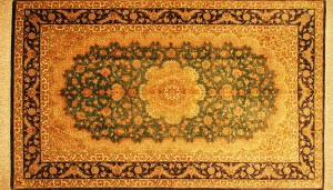サイズ125×79cm<br> silk100%<br> メダリオン ブルー紫<br> クム産<br> アリプール工房420,000円(税込)