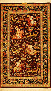 サイズ135×78cm silk100% シュカルガ(動物と王様の遊び) クム産 サバ工房920,000円(税込)