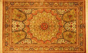 サイズ128×77cm<br> silk100%<br> モスクの天井のデザイン<br> クム産<br> ゴーハリ工房630,000円(税込)