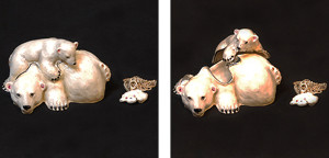 白クマ親子(ペンダント付き) サイズ高さ5×幅8.5cm 21,000円