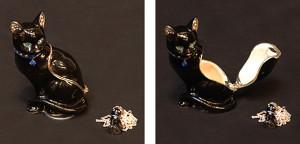 """ブラックキャット(ペンダント付き) サイズ高さ6.5×幅4cm 12,600円 <span class=""""sold"""">SOLD OUT</span>"""