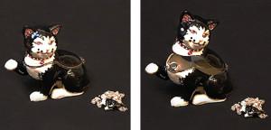ホワイト&ブラック キャット(ペンダント付き) サイズ高さ6×幅6.5cm 12,600円 SOLD OUT