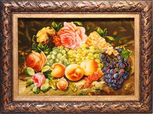 バラと果物<br> サイズ幅76×高さ60cm<br> 額込み 120万円(税別)⇒50%OFF!