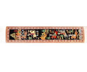 サイズ90×19cm<br> シルク<br>  シェカルガ~王様の狩り遊び<br> クム産<br> ワハダット工房275,000円(税別)