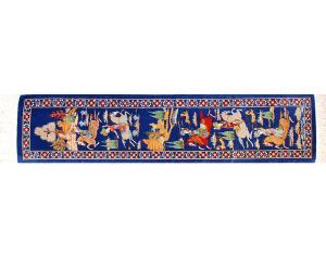 サイズ90×20cm<br> シルク<br>  シェカルガ~王様の狩り遊び<br> クム産<br> ワハダット工房275,000円(税別)