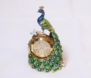 サイズ幅6×高さ10cm<br> クジャク置時計 <br> イタリア製<br> 18,500円(税別)
