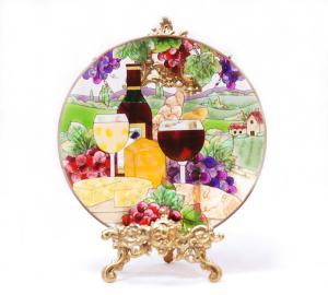 手描きアートガラス<br>「ワイン」<br>サイズ直径25cm 8,500円<br>