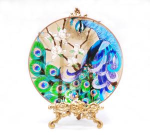 手描きアートガラス<br>「クジャク」<br>サイズ直径25cm 8,500円<br>