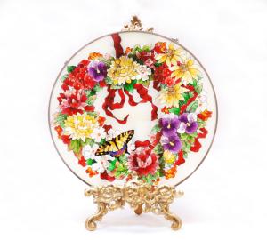 手描きアートガラス<br>「花」<br>サイズ直径25cm 8,500円<br>