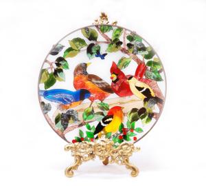 手描きアートガラス<br>「鳥」<br>サイズ直径25cm 8,500円<br>