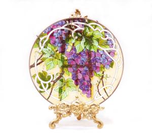 手描きアートガラス<br>「ブドウ」<br>サイズ直径25cm 8,500円<br>