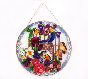 手描きアートガラス<br>「鳥と花」<br>サイズ 直径25cm 12,800円<br>