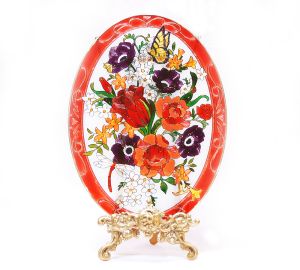 手描きアートガラス<br>「花」<br>サイズ 高さ32cm 幅23cm 12,800円<br>
