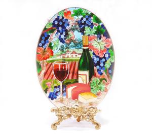 手描きアートガラス<br>「ワイン」<br>サイズ 高さ32cm 幅23cm 12,800円<br>
