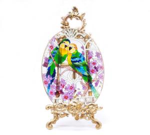 手描きアートガラス<br>「インコ」<br>サイズ 高さ32cm 幅23cm 12,800円<br>