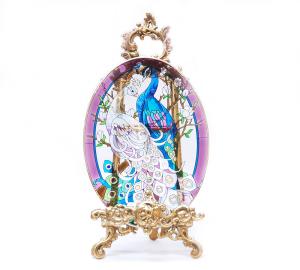 手描きアートガラス<br>「クジャク」<br>サイズ 高さ32cm 幅23cm 12,800円<br>
