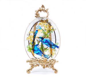 手描きアートガラス<br>「鳥」<br>サイズ 高さ32cm 幅23cm 12,800円<br>