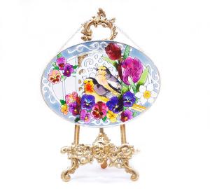 手描きアートガラス<br>「鳥」<br>サイズ 高さ16cm 幅23cm 4,500円<br>