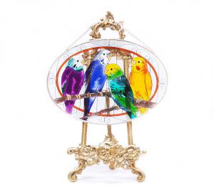 手描きアートガラス<br>「インコ」<br>サイズ 高さ16cm 幅23cm 4,500円<br>