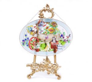 手描きアートガラス<br>「ネコ ニワトリ 花」<br>サイズ 高さ16cm 幅23cm 4,500円<br>
