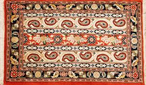 サイズ98×58cm<br> wool&silk<br> ペイズリー<br> ワラミン工房120,000円(税込)