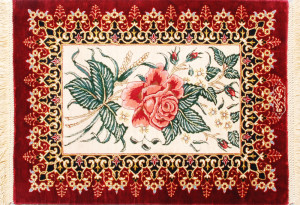 サイズ60×40cm<br> silk100%<br> ローズ<br> ゴーハリ工房168,000円(税込)